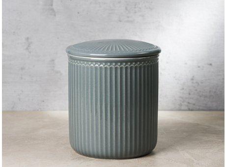 Greengate Vorratsdose Alice Dose mit Deckel Grau Mittel 13x15 cm 2100 ml Geschirr aus Keramik Stone Grey Rillenmuster Hygge für jeden Tag