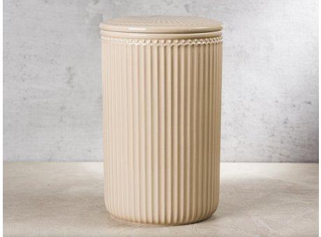 Greengate Vorratsdose Alice Dose mit Deckel Karamel Beige Gross 13x21 cm 3000 ml Geschirr aus Keramik Creamy Fudge Rillenmuster Hygge für jeden Tag