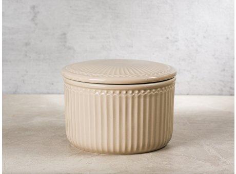 Greengate Vorratsdose Alice Dose mit Deckel Karamel Beige Klein 13x9 cm 1250 ml Geschirr aus Keramik Creamy Fudge Rillenmuster Hygge für jeden Tag