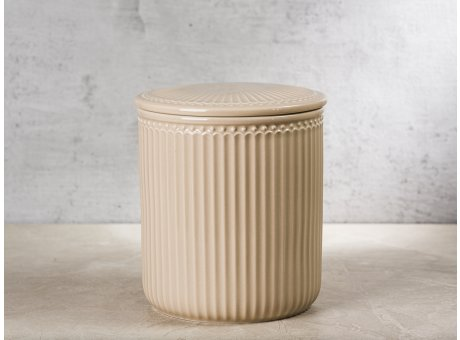 Greengate Vorratsdose Alice Dose mit Deckel Karamel Beige Mittel 13x15 cm 2100 ml Geschirr aus Keramik Creamy Fudge Rillenmuster Hygge für jeden Tag