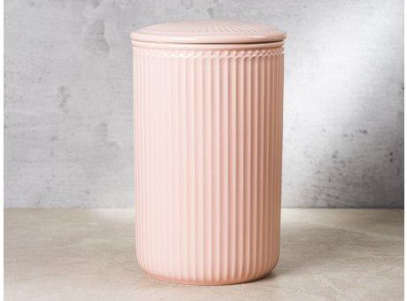 Greengate Vorratsdose Alice Dose mit Deckel Rosa Gross 13x21 cm 3000 ml Geschirr aus Keramik Pale Pink Rillenmuster Hygge für jeden Tag