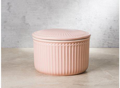 Greengate Vorratsdose Alice Dose mit Deckel Rosa Klein 13x9 cm 1250 ml Geschirr aus Keramik Pale Pink Rillenmuster Hygge für jeden Tag