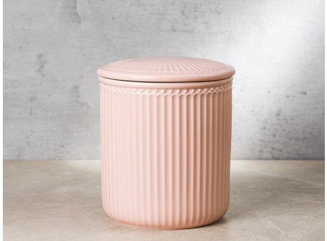 Greengate Vorratsdose Alice Dose mit Deckel Rosa Medium 13x15 cm 2100 ml Geschirr aus Keramik Pale Pink Rillenmuster Hygge für jeden Tag