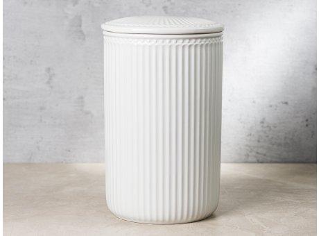 Greengate Vorratsdose Alice Dose mit Deckel Weiss Gross 13x21 cm 3000 ml Geschirr aus Keramik White Rillenmuster Hygge für jeden Tag