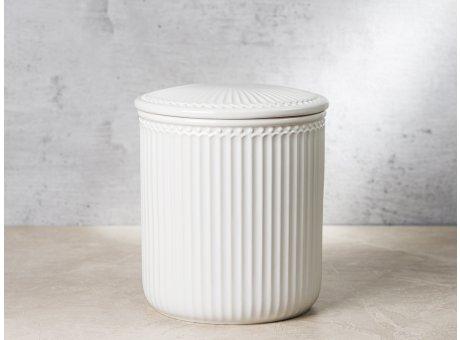 Greengate Vorratsdose Alice Dose mit Deckel Weiss Medium 13x15 cm 2100 ml Geschirr aus Keramik White Rillenmuster Hygge für jeden Tag