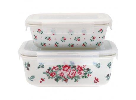 Greengate Vorratsdosen CHARLINE Weiß mit Blumen Dose mit Deckel 2er Set Keramik 450 und 950 ml Greengate Aufbewahrungsdosen Nr STWFSTRCHN9704