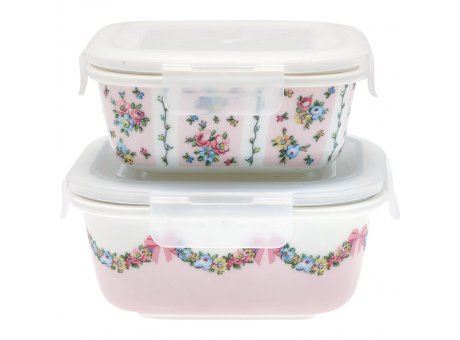 Greengate Vorratsdosen MAYA Pale Pink Rosa Weiß mit Blumen Dose mit Deckel 2er Set Keramik 400 und 600 ml Greengate Aufbewahrungsdosen Nr STWFSTSMYA1904