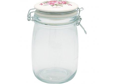 Greengate Vorratsglas CHARLINE 1L Glas mit Deckel aus Keramik Aufbewahrungsdose Greengate Vorratsdose Nr GLASTO1LCHN0106
