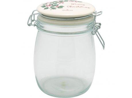 Greengate Vorratsglas MERRY CHRISTMAS 0,75L Glas mit Deckel aus Keramik Aufbewahrungsdose Greengate Vorratsdose Nr VGLASTO075LMCR0106