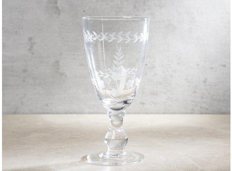 Greengate Weinglas Groß mit Muster geschliffen Rotwein Glas Klar modernen Chic und Nostalgie Design