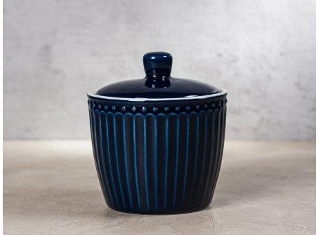 Greengate Zuckerdose ALICE Dunkelblau Everyday Keramik Geschirr Dark Blue Sugar Pot Rillenmuster Hygge für jeden Tag