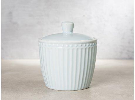 Greengate Zuckerdose ALICE Hellblau Everyday Keramik Geschirr Pale Blue Sugar Pot Rillenmuster Hygge für jeden Tag