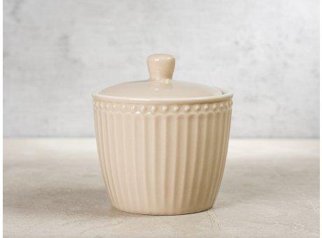 Greengate Zuckerdose ALICE Karamel Beige Everyday Keramik Geschirr Creamy Fudge Sugar Pot Rillenmuster Hygge für jeden Tag