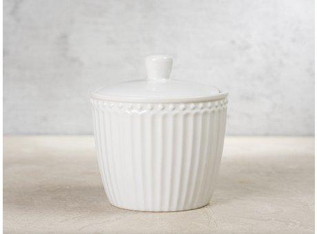 Greengate Zuckerdose ALICE Weiß Everyday Keramik Geschirr White Sugar Pot Rillenmuster Hygge für jeden Tag