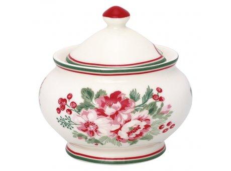 Greengate Zuckerdose CHARLINE Weiß mit Blumen 200 ml Porzellan Geschirr Greengate Zuckertopf Nr STWSUGCHN0104