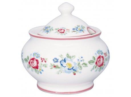 Greengate Zuckerdose HENRIETTA Weiss mit Blumen Rot Blau Zuckertopf 200 ml Greengate Produkt Nr STWSUGHET0104