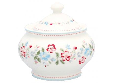 Greengate Zuckerdose SONIA Weiss Blumen Porzellan Zuckertopf 200 ml GG Produkt Nr STWSUGSOI0104