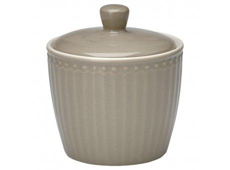 Greengate Zuckertopf ALICE Grau Everyday Geschirr Warm Grey Sugar Pot Greengate Produkt Nr STWSUGAALI8306