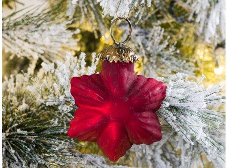 Hänger Stern Rubin Rot matt Christbaum Schmuck Weihnachtsdeko Weihnachtskugel