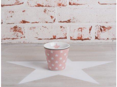Happy Espresso Tasse rosa pink mit weißen Sternen von Krasilnikoff