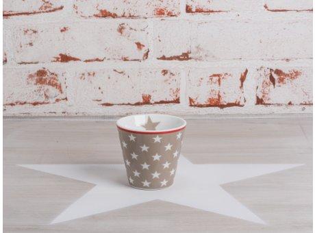 Happy Espresso Tasse taupe mit weißen Sternen von Krasilnikoff