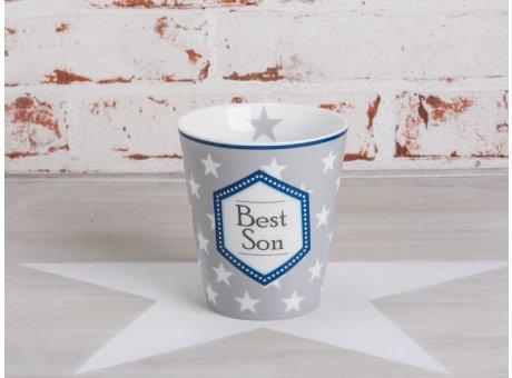 Happy Mug Becher Best Son in grau mit weissen Sternen von Krasilnikoff