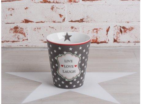 Happy Mug Becher Live Love Laugh dunkelgrau mit weißen Sternen Krasilnikoff