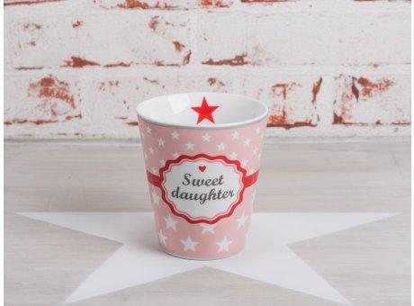 Happy Mug Becher Sweet Daughter rosa pink mit weißen Sternen Krasilnikoff