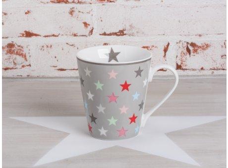 Happy Mug Henkel Becher grau mit bunten Sternen von Krasilnikoff
