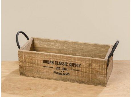 Holzkiste Urban Classic 41 cm rechteckige Kiste aus Holz in Braun Griffe Metall Vintage Deko Design