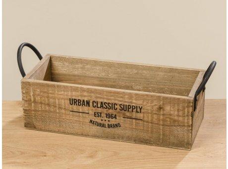 Holzkiste Urban Classic Supply 46 cm Kiste Braun rechteckige Form Griffe Metall schwarz Vintage Deko Design