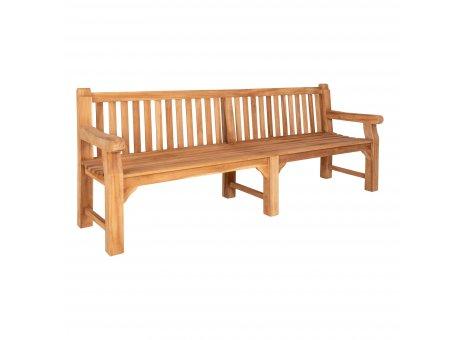 House Nordic Bank CABO Teak Holz 230 cm Gartenbank mit Lehne XXL Holzbank Nr 1401070