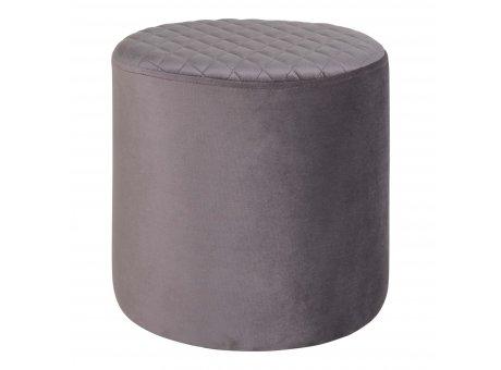 House Nordic Pouf EJBY Samt Grau 34x36 cm Beistelltisch Rund Sitzhocker Nr 1501105