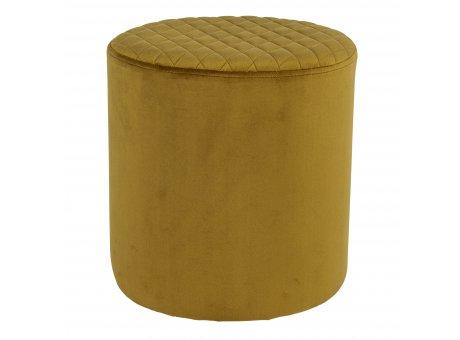 House Nordic Pouf EJBY Samt Mustard 34x36 cm Beistelltisch Rund Senf Gelb Sitzhocker Nr 1501113