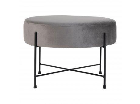House Nordic Pouf SANDBY Grau Samt Hocker groß rund Sitzhocker Beistelltisch