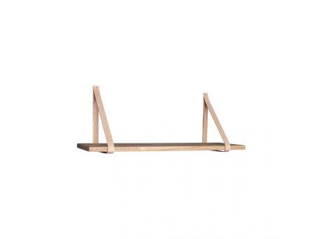 House Nordic Wandregal FORNO 80 cm Natur Braun Hängeregal Leder Holz Regal Nr. 4292000