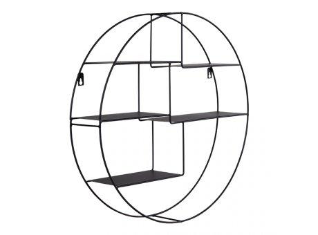 House Nordic Wandregal GENK Schwarz Rund  47 cm Metall Design Regal Nr. 4292140