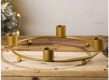 IB Laursen Advent Kerzenhalter Gold aus Metall für 4 Kerzen Durchmesser ca 20 cm Weihnachtsdeko moderner schlichter Adventskranz Hygge Style