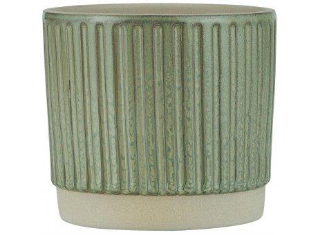 IB Laursen Blumentopf Staubig Grün mit Rillen 11 cm IB Laursen Übertopf Nr 1983-81