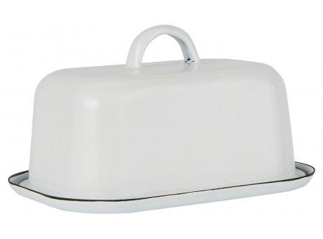 IB Laursen Butterdose Emaille Weiss Butterglocke mit Deckel IB Produkt Nr 0411-11