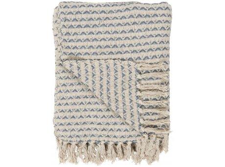 IB Laursen Decke Creme Blau Gemustert mit Fransen 130x160 Baumwolle Ib Laursen Plaid Muster Nr 65008-13
