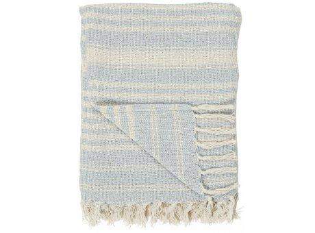 IB Laursen Decke Creme Hellblau Steifen mit Fransen 130x160 Baumwolle Blau Ib Laursen Plaid Muster Nr 65009-26