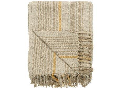 IB Laursen Decke Creme Streifen Muster Beige und Mustard 130x160 Baumwolle Ib Laursen Plaid Nr 65010-02