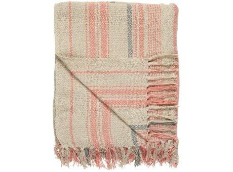 IB Laursen Decke Creme Streifen Muster Coral Sands und Grau 130x160 Baumwolle Ib Laursen Plaid Nr 65010-27