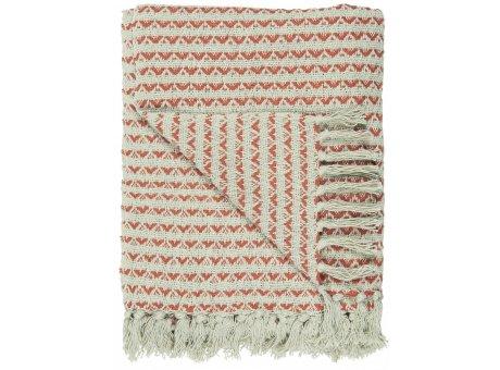 IB Laursen Decke Creme Sunset Rot Gemustert mit Fransen 130x160 Baumwolle Ib Laursen Plaid Muster Nr 65008-36