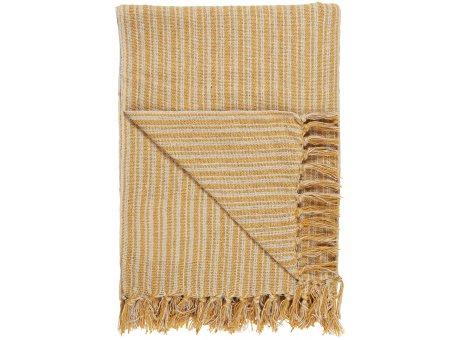 IB Laursen Decke Streifen Muster Gelb Creme 130x160 Baumwolle Ib Laursen Plaid Nr 65006-03