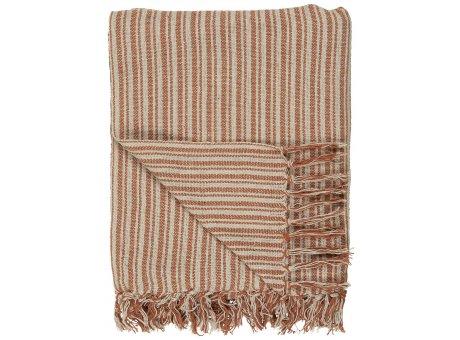 IB Laursen Decke Streifen Muster Rost Rot Creme 130x160 Baumwolle Ib Laursen Plaid Nr 65006-70