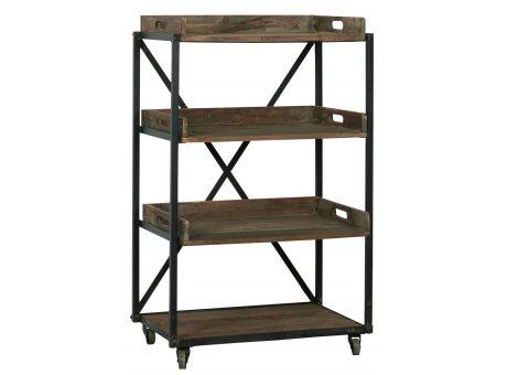 IB Laursen Display Regal auf Rädern mit 3 losen Holztabletts und 1 festes Holzregal IB Produkt Nr 5202-14
