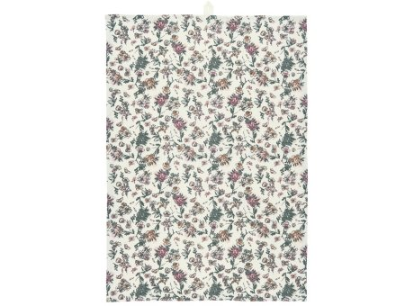 IB Laursen Geschirrtuch Weiss mit Blumen Muster in Faded Rose und Grau IB Laursen Geschirrhandtuch Nr 66030-37