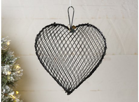 IB Laursen Herz aus Draht in Schwarz zum Hängen ca 22 x 18 cm Drahtkorb für Gestecke zur Hochzeitsdeko und Weihnachtsdeko